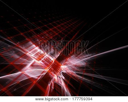 Abstract background element. Fractal graphics series. Three-dimensional composition of repeating grids. Information technology concept.Red and black colors.