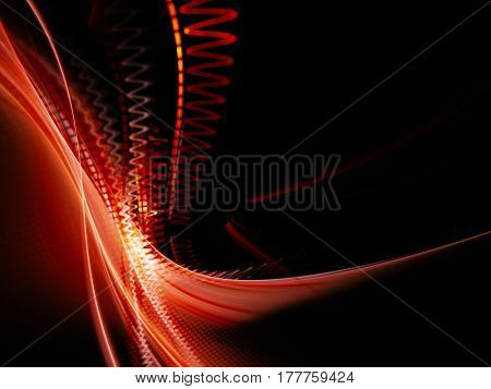 Abstract background element. Fractal graphics. Dynamic composition of curves, blurs and halftone effect. Red and black colors.