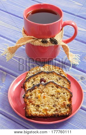 Cup Of Tea, Fresh Baked Fruitcake On Plate