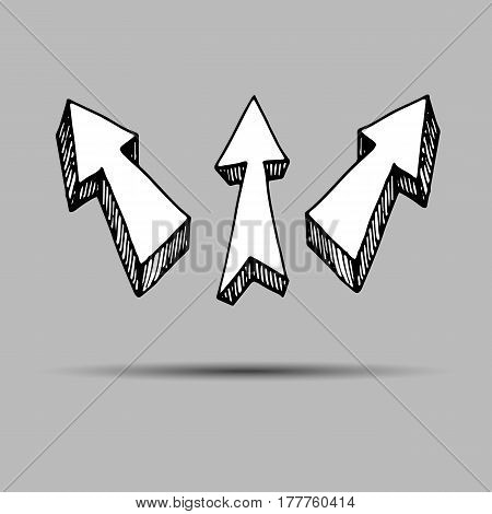 Sketch arrow collection for your design. Arrows and Lines. vector arrows on a gray background. Set of different vector arrows