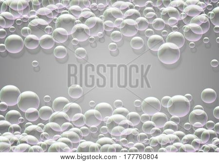 Soap bubbles background with rainbow colored airy foam