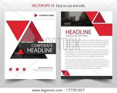 Red triangle abstract Vector Brochure annual report Leaflet Flyer template design book cover layout design abstract business presentation template a4 size design