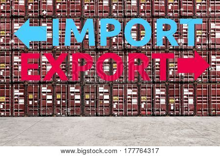 Stack pattern of cargo shipping containers with Export and Import Words in shipping yard for global transportation importexport and logistic business concept