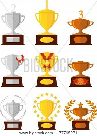 Awards cups icons set. Gold, silver, bronze