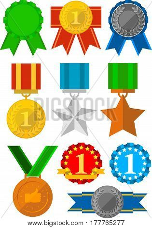 Medals and awards icons set. Gold, silver, bronze
