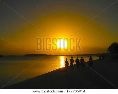 Boca Chica beach at sunset at Dominican Republic