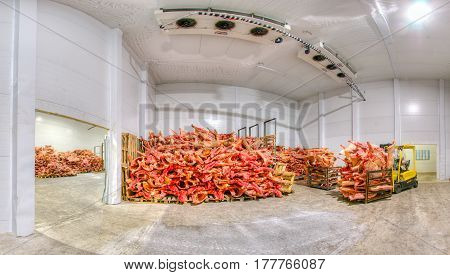 Stored frozen meat at a meat factory before processing