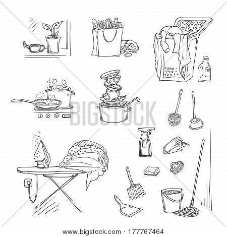 Vector set sketch illustration on a white background of objects and situations in the household chores. Washing and ironing, cleaning, washing dishes, grocery shopping and cooking