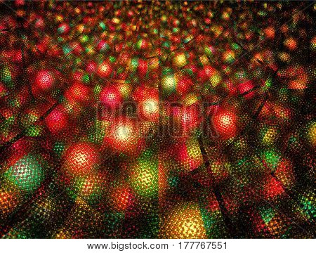 A vast network of green and red Christmas lights.