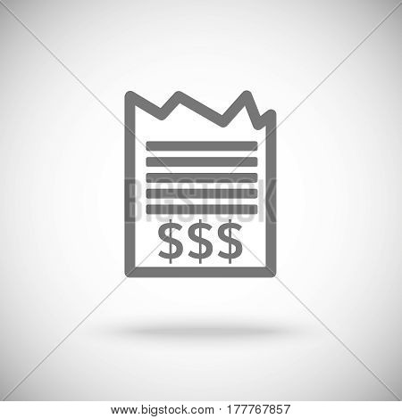 receipt icon . Piece of paper with dollar sign