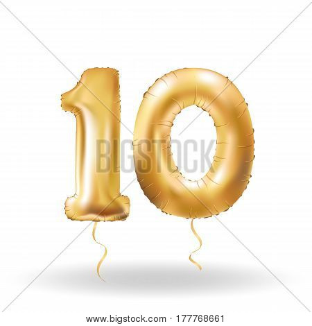Number Ten Metallic Balloon