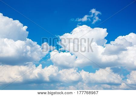 Beautiful Nature white cloud scape and blue sky background in daytime at summer season