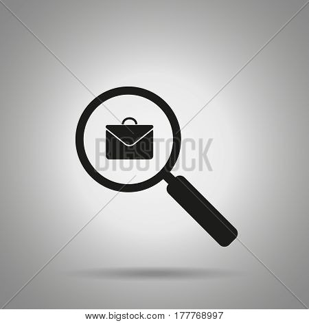 search job icon . Magnifier and briefcase symbol