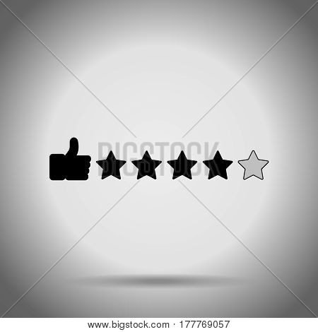Thumb up and stars. Search rating icon