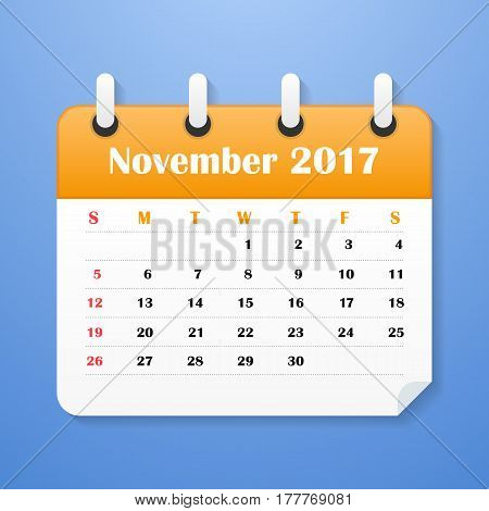 USA Calendar for November 2017. Week starts on Sunday.