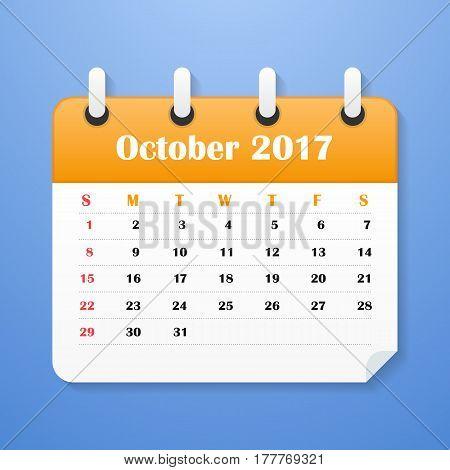 European Calendar for October 2017. Week starts on Monday. Vector illustration