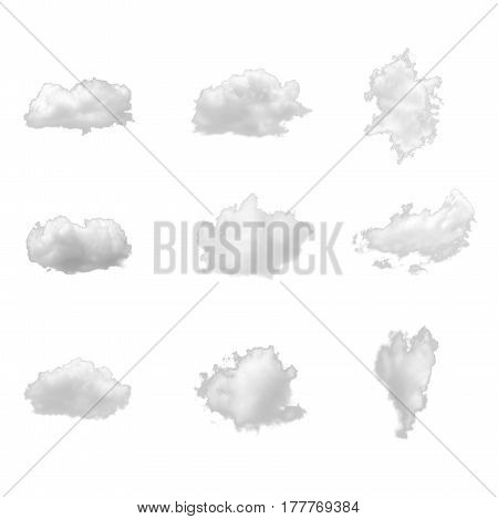 Nature white clouds collection isolate on white background. Cutout clouds element design for multi purpose use.