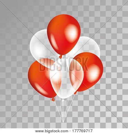 Red and white balloon on background. Party balloons for event design. Transparent balloons isolated in the air. Party decorations for birthday, anniversary, celebration. Shine transparent balloon.