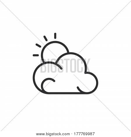 Sun and cloud icon vector filled flat sign solid pictogram isolated on white. Partly cloudy weather forecast symbol logo illustration