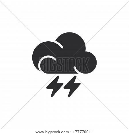 Lightning icon vector filled flat sign solid pictogram isolated on white. Thunderstorm weather forecast symbol logo illustration