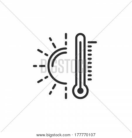 Thermometer and sun line icon outline vector sign linear pictogram isolated on white. Hot temperature symbol logo illustration