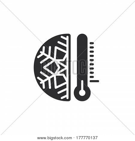 Thermometer and snowflake icon vector filled flat sign solid pictogram isolated on white. Cold temperature symbol logo illustration