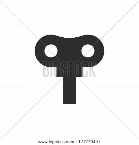 Wind up key icon vector filled flat sign solid pictogram isolated on white. Symbol logo illustration