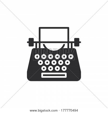 Typewriter icon vector filled flat sign solid pictogram isolated on white. Symbol logo illustration
