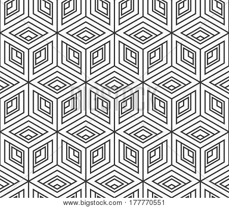 Seamless pattern from isometric cubes. Abstract geometric backdrop. Design background