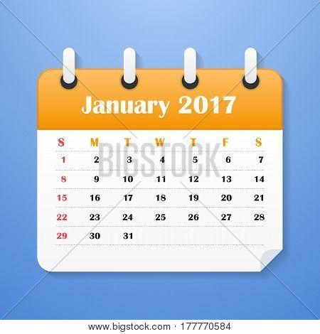 European Calendar for January 2017. Week starts on Monday. Vector illustration
