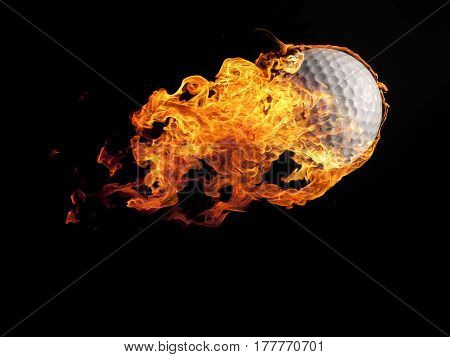 Close up of a burning golf ball flying on a black background
