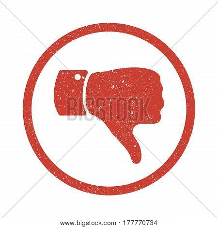 Grunge Thumb down symbol. Distressed Human hand icon. Sign of Dislike, bad or reject