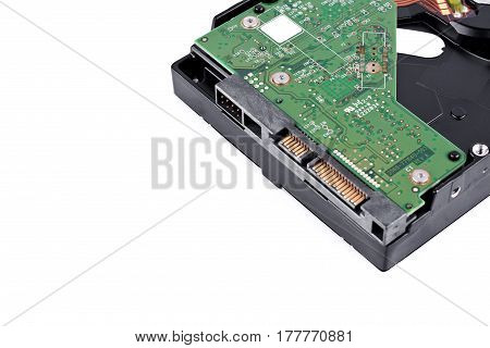 internal harddisk drive is the data storage for the digital data computer (close up) on white background  harddisk technology isolated