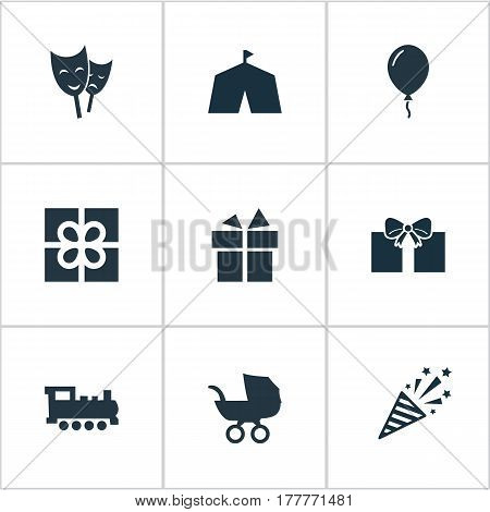 Vector Illustration Set Of Simple Birthday Icons. Elements Present, Train, Firecracker And Other Synonyms Carriage, Prize And Train.