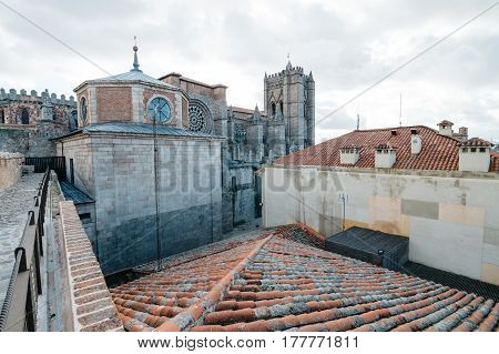 Avila Spain - November 11 2014: Cathedral of Avila from The Medieval Walla. The old city of and its extramural churches were declared a World Heritage site by UNESCO