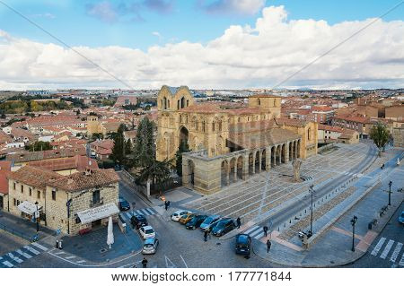 Avila Spain - November 11 2014: Church of San Vicente from Medieval Walls a cloudy day. The old city and its extramural churches were declared a World Heritage site by UNESCO