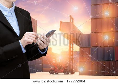 Smart Business Woman Use Smartphone And Internet Of Things Technology For Global Business Connection