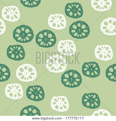 Sliced lotus roots background illustration in green background