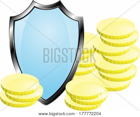 Coins closed shield, money protection, isolated vector