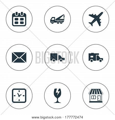 Vector Illustration Set Of Simple Delivery Icons. Elements Envelope, Mall, Day And Other Synonyms Date, Glass And Transportation.