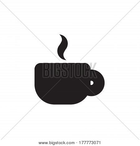 Vector icon or illustration showing perk or cafe with cup of coffeee or tea in one color