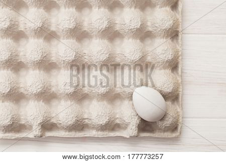 Texture Box Of Eggs, White Background, Table, Packaging For Eggs Made Of Cardboard