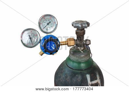 The pressure gauge in the pneumatic system. on a white background