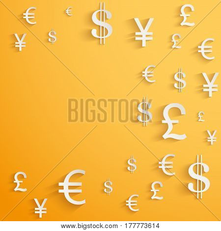 Currency symbol on bright bright orange background with space for text. Business  Illustration.