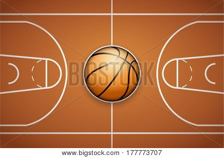 Poster Template with Basketball Ball on arena field. Cup and Tournament Advertising. Sport Event Announcement.  Illustration.
