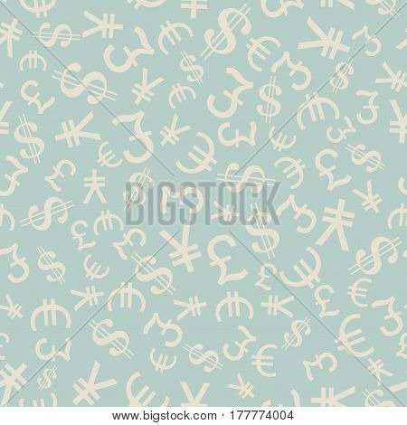 Currency Symbols Seamless pattern. Finance and trading theme. Texture Illustration.