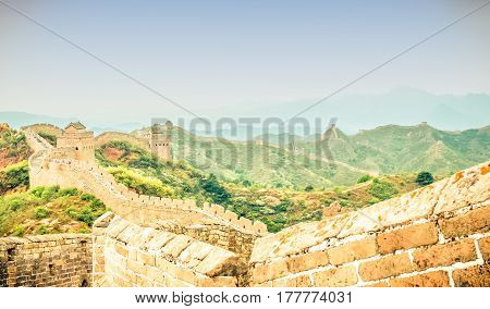 view on great wall by jinshanling with dreamy sky