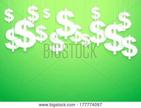 Green Background of hung symbols Dollar with space for text. Banking and Money Illustration