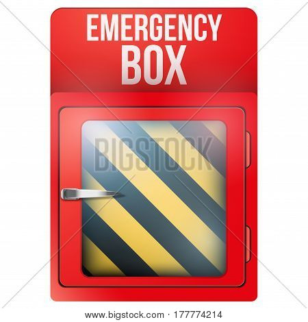 Empty red emergency box with in case of emergency breakable glass. Square format. Rescue illustration Isolated on white background. .