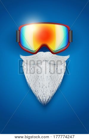 Background of Santa Claus symbol with ski goggles and white beard. Season Illustration
